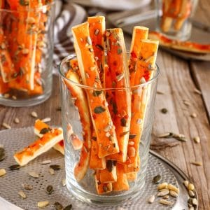 Sweet Chili Puff Pastry Breadsticks with Seeds Photo
