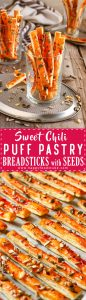 Sweet Chili Puff Pastry Breadsticks with Seeds Recipe