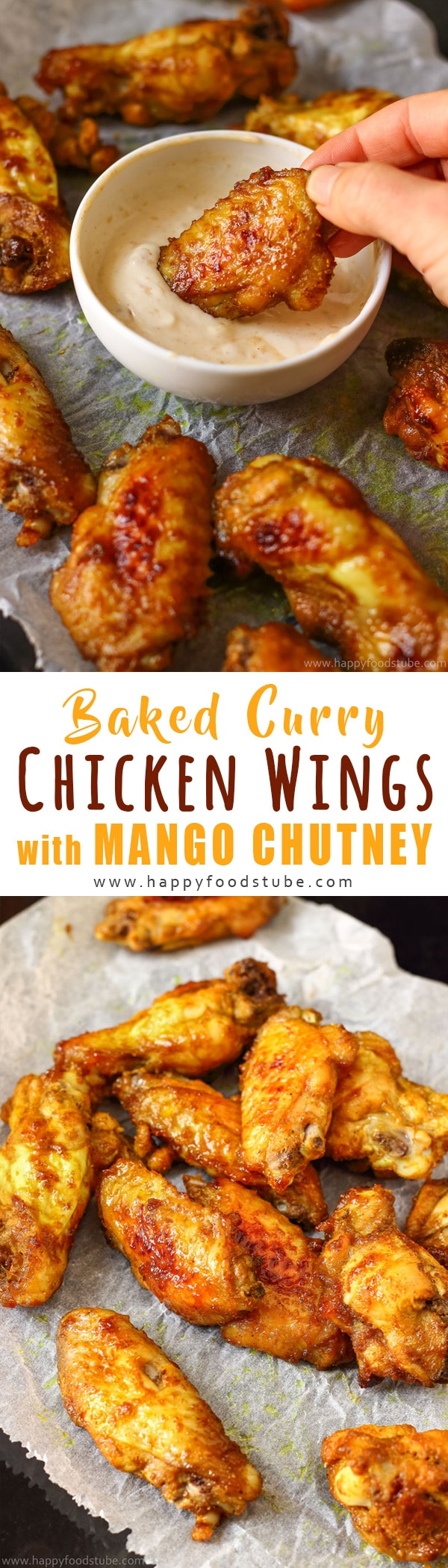 Oven Baked Curry Chicken Wings with Mango Chutney. These tender chicken wings are marinated in mango chutney marinade and baked to perfection. How to make baked chicken wings