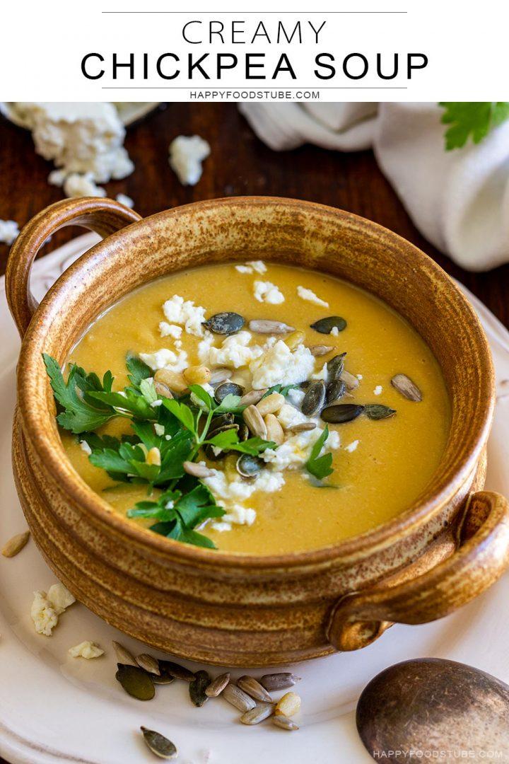 Creamy chickpea soup bowl