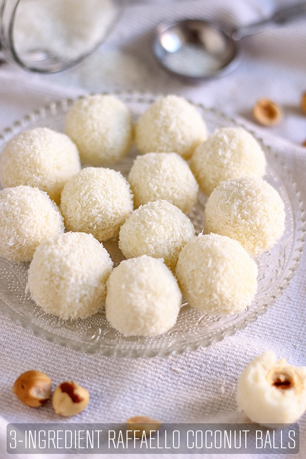 3-Ingredient Raffaello Coconut Balls make the perfect gift for your loved ones. They are no bake & ready in 15 minutes. Family favorite recipe you can make with your kids. #happyfoodstube #raffaello #coconut #balls #sweet #dessert #nobake #homemade #candy