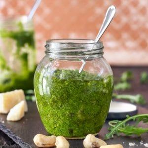 Homemade Cashew Arugula Pesto Photo