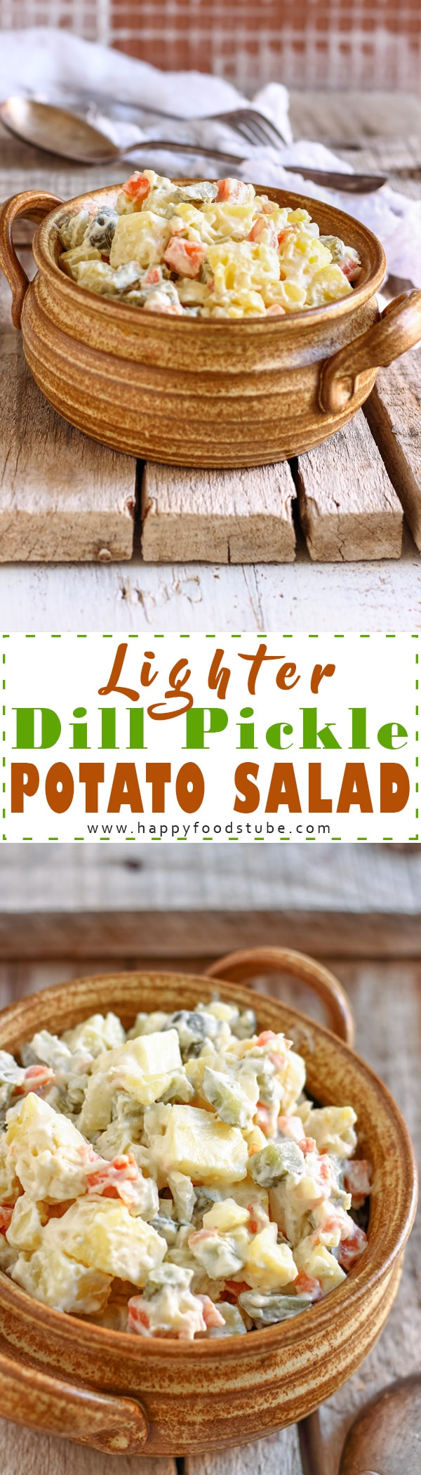 Lighter dill pickle potato salad recipe without mustard and vinegar. This creamy salad with dill pickles is a perfect side dish or a party food. Simple ingredients and ready in 30 minutes. #potatosalad