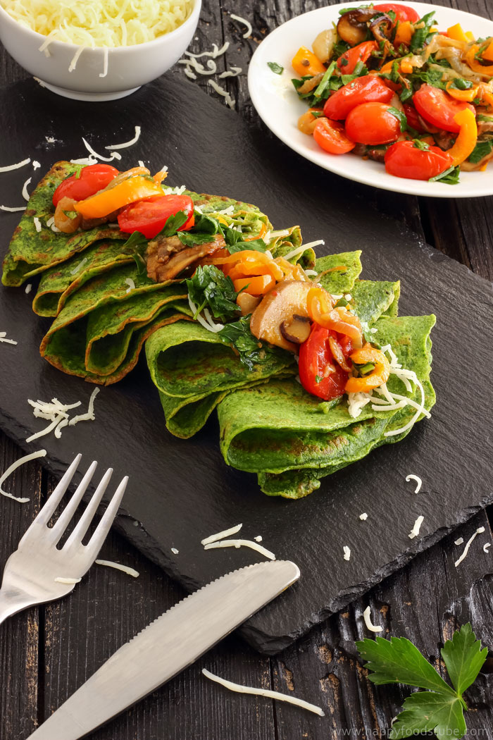 Spinach Crepes with Pan-Roasted Vegetables Image