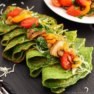 Spinach Crepes with Pan-Roasted Vegetables Photo