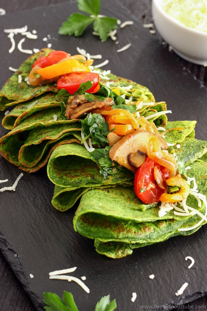 Spinach Crepes with Pan-Roasted Vegetables Pic