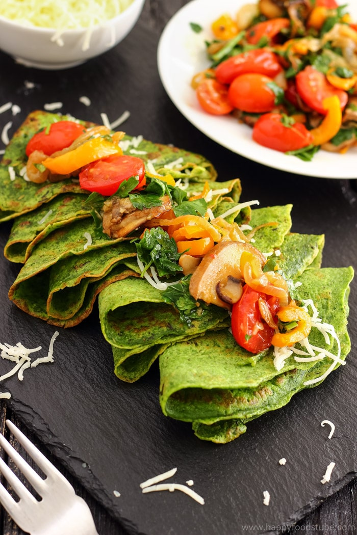 Spinach Crepes with Pan-Roasted Vegetables Picture