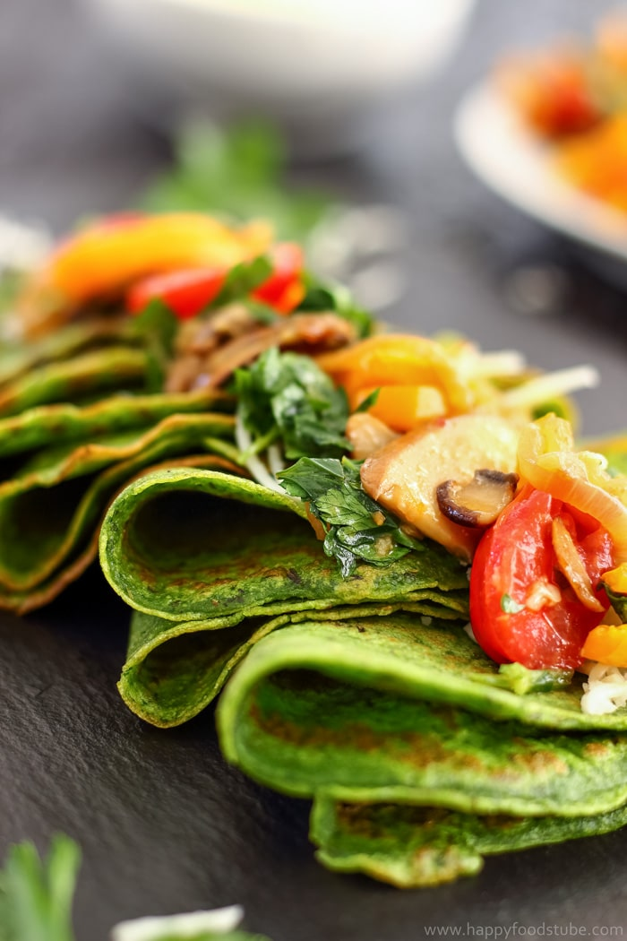 Spinach Crepes with Pan-Roasted Vegetables Pictures