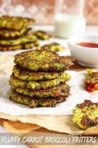 Fluffy Carrot Broccoli Vegetarian Fritters Recipe
