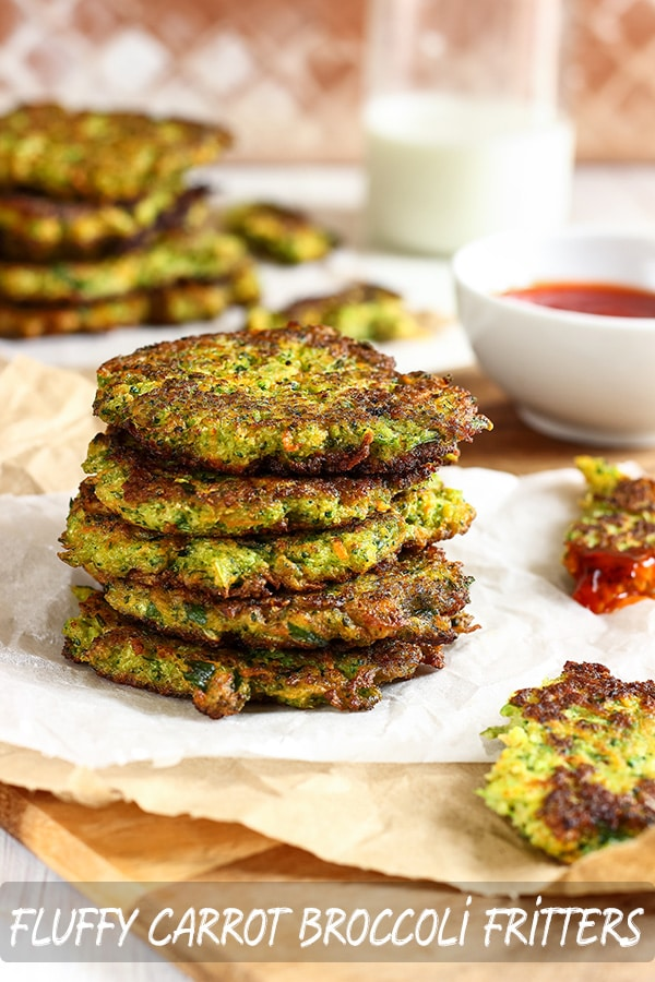 Fluffy Carrot Broccoli Vegetarian Fritters Recipe