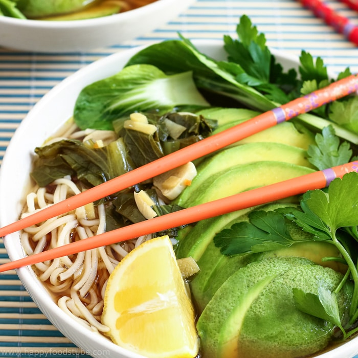 Homemade Ramen with Chow Mein Noodles & Bok Choy