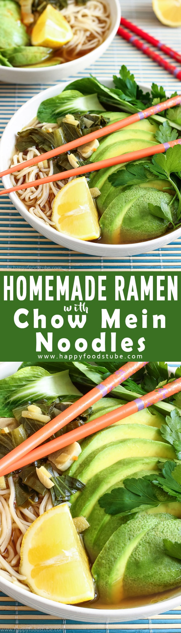 This Homemade Ramen with Chow Mein Noodles & Bok Choy is super easy & only takes 15 minutes to make. Enjoy as vegetarian meal or add your favorite protein. How to make homemade ramen. Vegetarian ramen recipe.