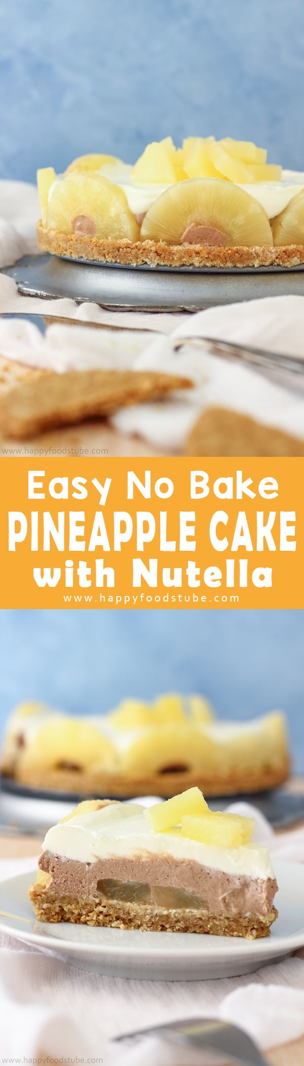7-ingredients and 20-minutes is all it takes to make this no bake pineapple cake. It's an easy make-ahead dessert with pineapple pieces and Nutella layer. Best fridge cake recipe. Super easy to make dessert recipe.