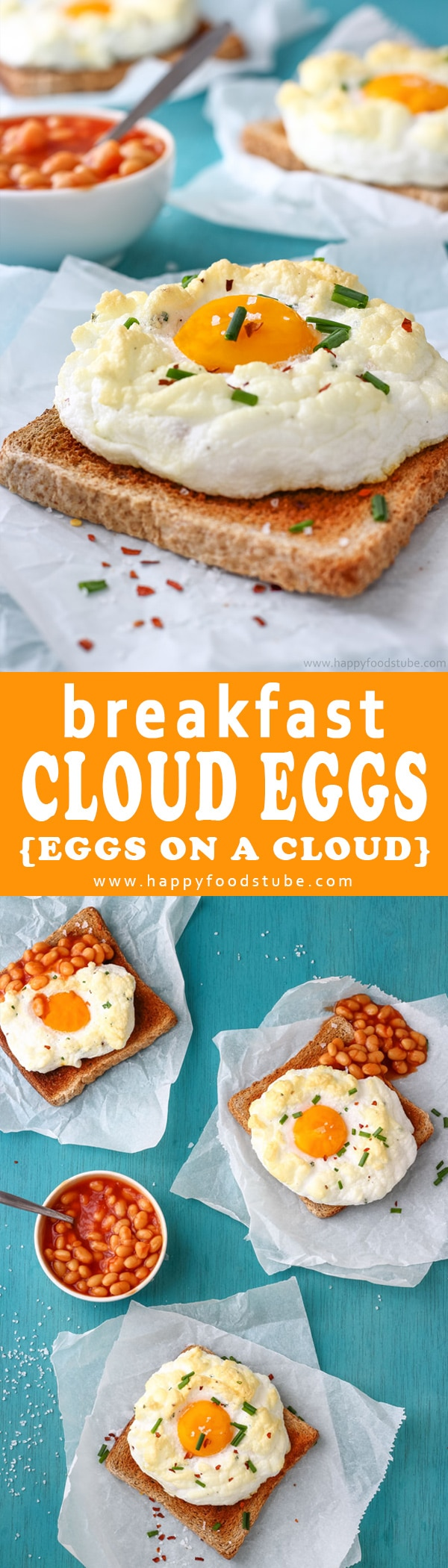 Easy Cloud Eggs Recipe also called Eggs on a Cloud. Its a fun way to make eggs for breakfast. How to make a cloud eggs? Here is super simple recipe and quick step by step video. Imagine fluffy whites, runny yolks and texture light as clouds. That's what eggs on a cloud are all about :)