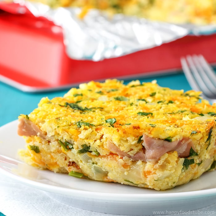 Cauliflower Bake with Blue Cheese & Prosciutto {Video} - Happy Foods Tube