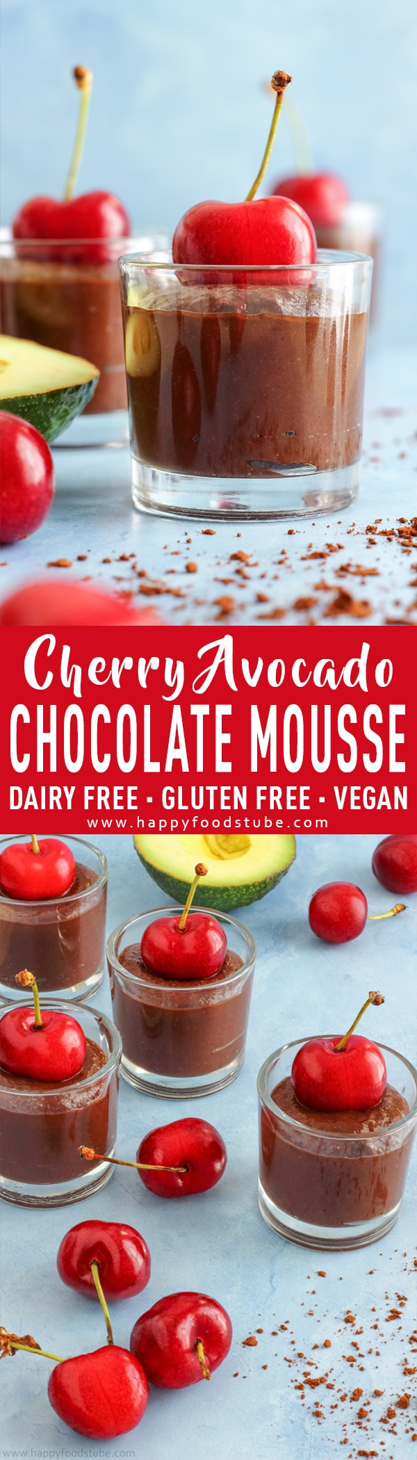 Cherry Avocado Chocolate Mousse is great all-natural sugar dessert. Imagine rich chocolate-y flavor, creamy avocado texture and sweetness from cherries and dates. This avocado chocolate mousse recipe is also dairy-free, gluten free and vegan