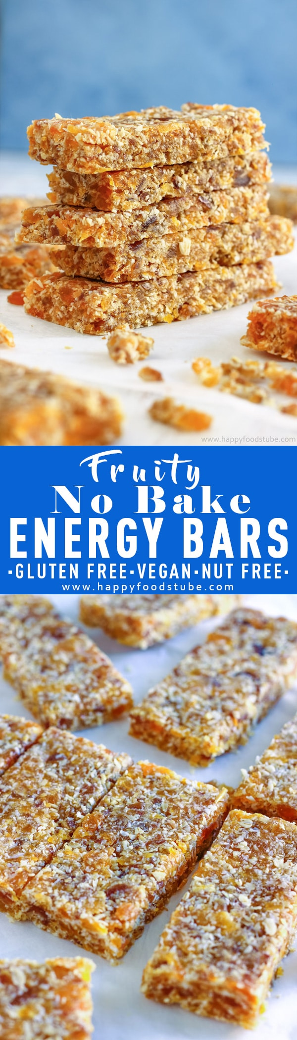 Homemade healthy no bake energy bars. These chewy & naturally sweet bars are made with dried dates and apricots. Vegan, gluten free & nut free recipe