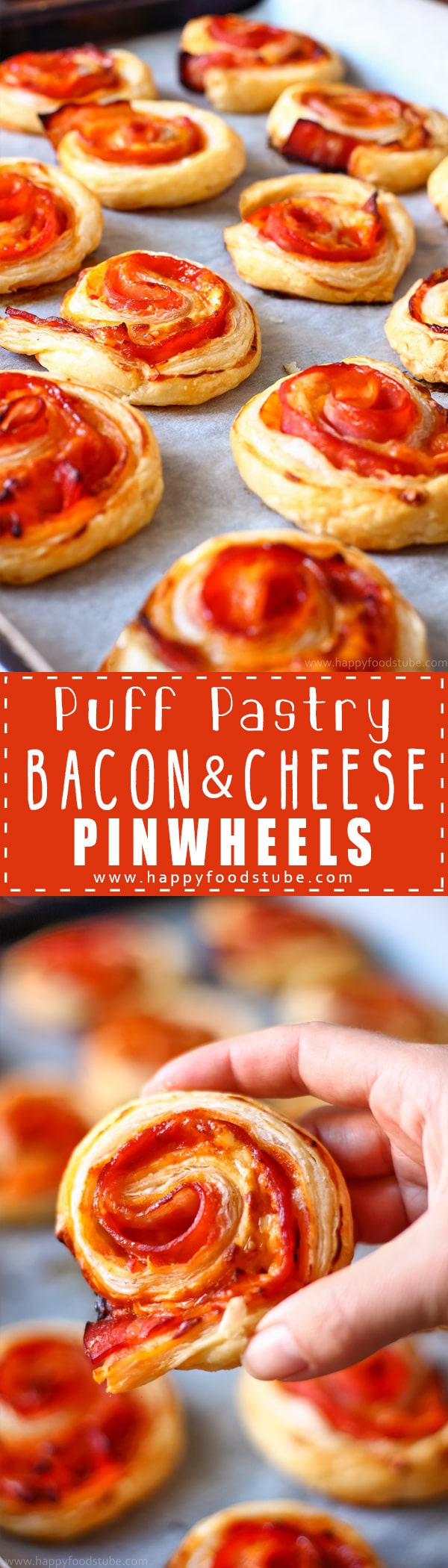 Puff Pastry Bacon Pinwheels with Cheddar ~ Easy and fast Puff Pastry Bacon Pinwheels with Cheddar Cheese. Homemade party food ideas. Perfect for parties and family gatherings. Only 5 ingredient and ready in 25 minutes