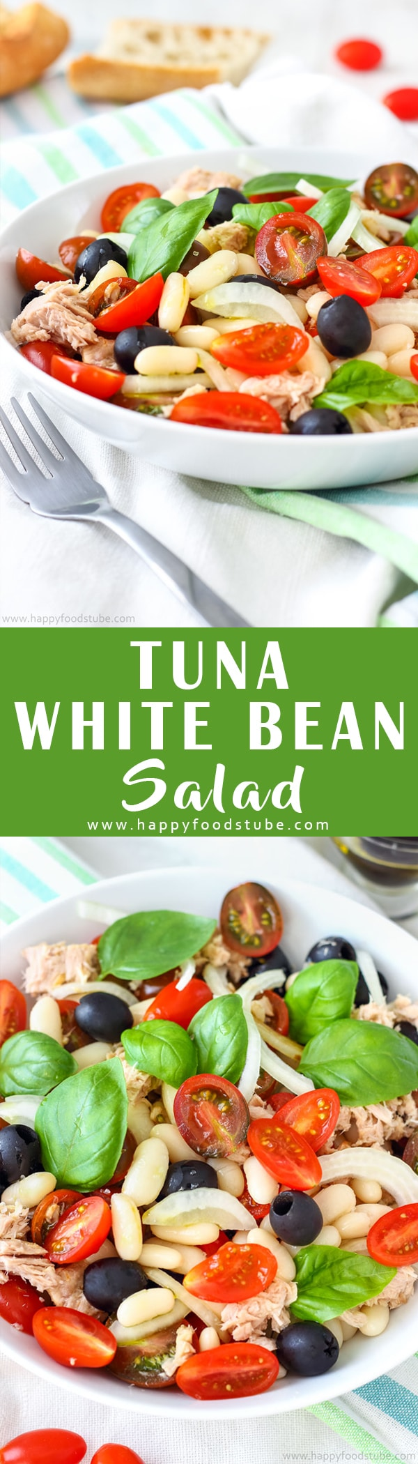 This tuna white bean salad is perfect for picnics or quick lunch. If you love Mediterranean food, you will enjoy this super easy recipe. Healthy Mediterranean diet recipe