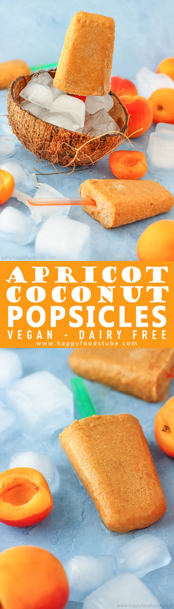 These apricot coconut popsicles are the perfect frozen treat. They are rich, refreshing and quick to make. Only 4-ingredients and ready in 10-minutes + vegan and dairy-free