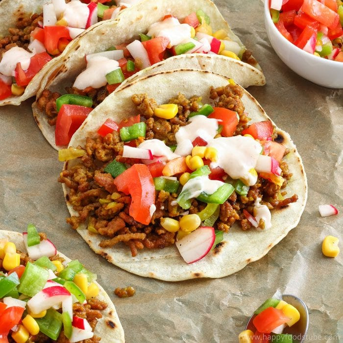 Curried Beef Tacos with Sweet Corn Salsa