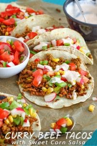 Easy Curried Beef Tacos with Sweet Corn Salsa