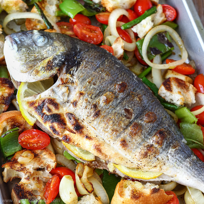 Grilled Whole Fish with Italian Bread Salad - Happy Foods Tube