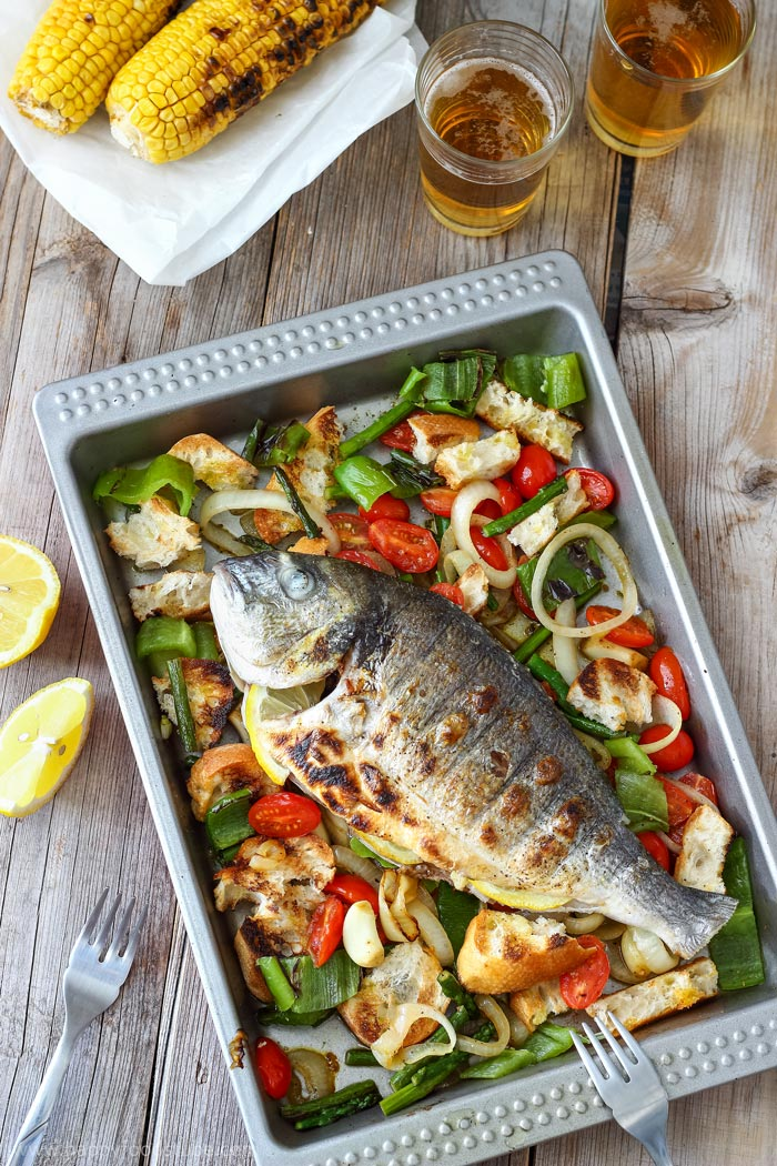 Grilled Whole Fish with Italian Bread Salad Photo