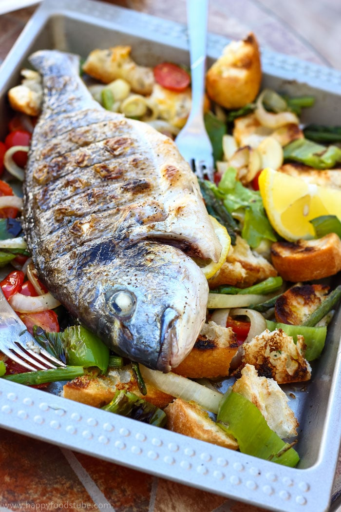 Grilled Whole Fish with Italian Bread Salad Pic