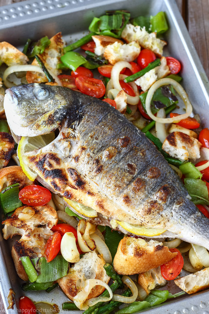 Grilled whole fish with italian bread salad happy foods tube for Fish and salad