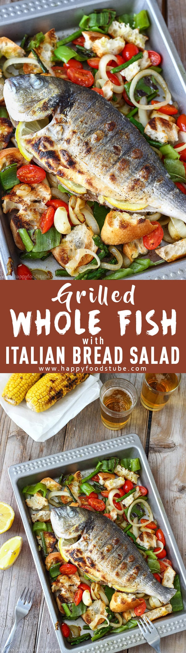 Grilled whole fish with Italian bread salad is the perfect summer recipe. Juicy flesh is hidden under crispy skin and served on a bed of grilled vegetables & bread. Easy to prepare and quick to grill