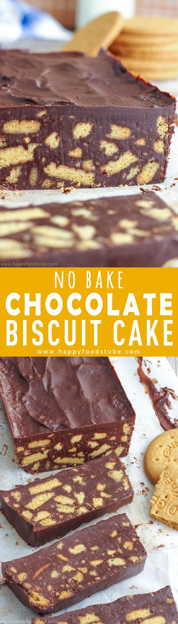 No bake chocolate biscuit cake also known as chocolate fridge cake is a must-try treat. Turn digestive biscuits & chocolate into this easy homemade dessert. Only 4-ingredients and ready in 10-minutes. How to make a cake from biscuits