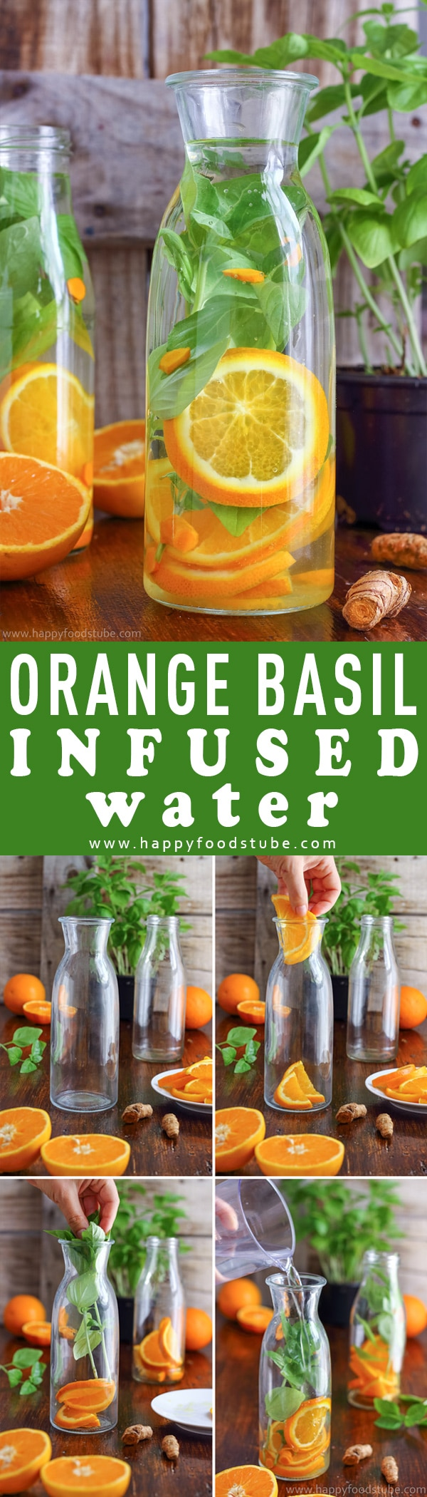 This orange basil infused water is the perfect drink for hot summer days. It's refreshing, tasty and easy to make. Stay hydrated with this healthy flavored water. Body detox and cleanse with infused water. Only 3 ingredients - orange, basil and turmeric