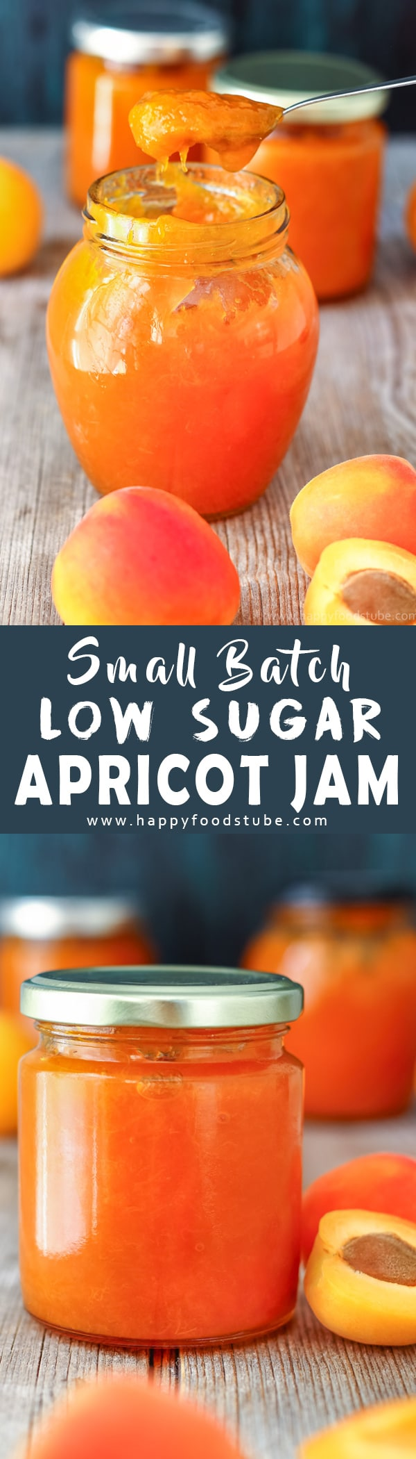 This small batch low sugar apricot jam is made from scratch and is pectin free. Use it as apricot glaze on cakes or simply spread on toast. Homemade apricot preserves recipe. How to make low sugar apricot jam