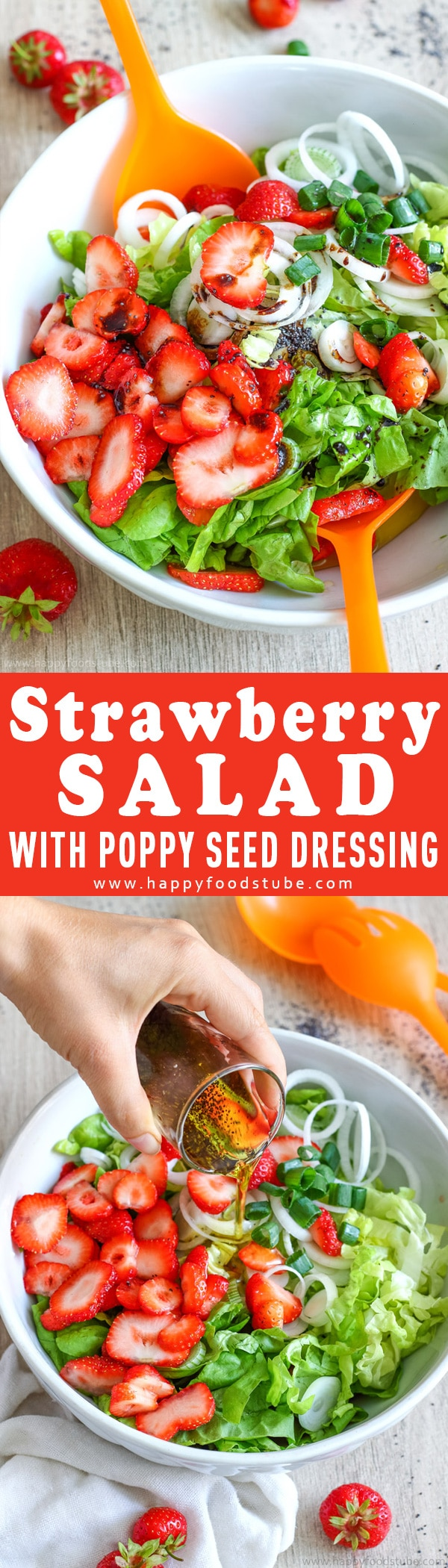 This Strawberry salad with poppy seed dressing is the perfect barbecue side dish. Combine strawberries, lettuce & spring onions with tasty 3-ingredient sweet dressing. Simple ingredients and ready in 15-minutes.