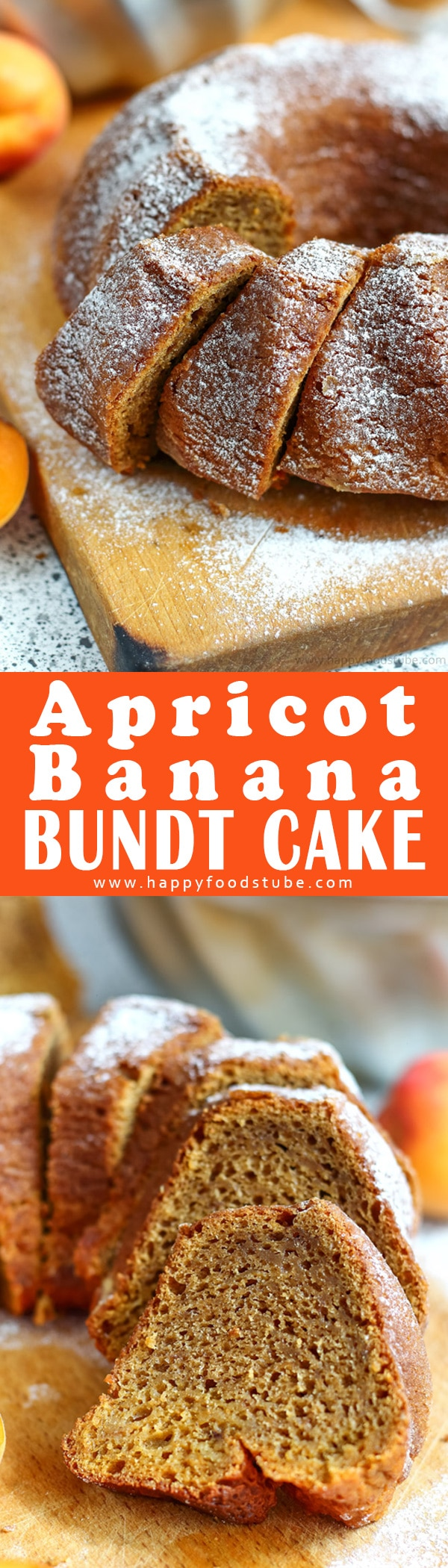 This apricot banana bundt cake is perfect for breakfast, afternoon snack, brunch or coffee break. Apricot puree and banana make it extra moist & add sweetness to it. Easy banana bundt cake from scratch. #apricot #banana #bundt #cake #recipe #baking #dessert
