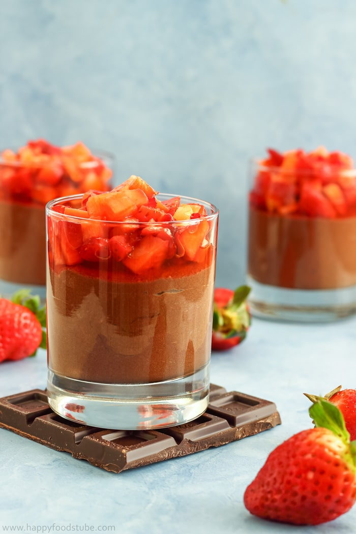 Chocolate Nutella Mousse with Strawberries Photo