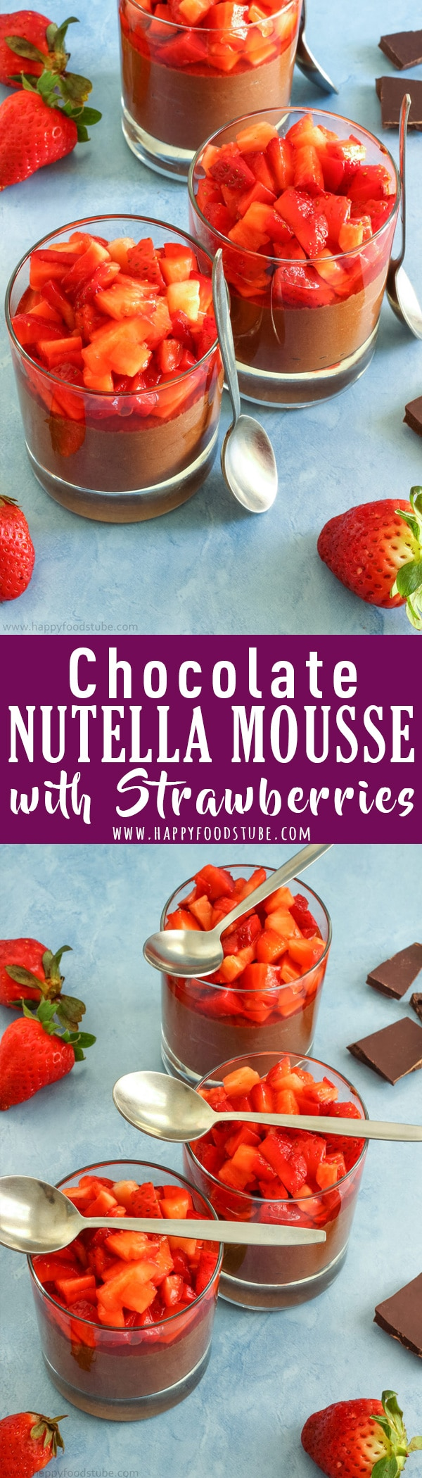 Chocolate Nutella Mousse with Strawberries is a delicious dessert for any occasion! It's rich in flavor, quick to make and tastes delicious! Easy to make desserts