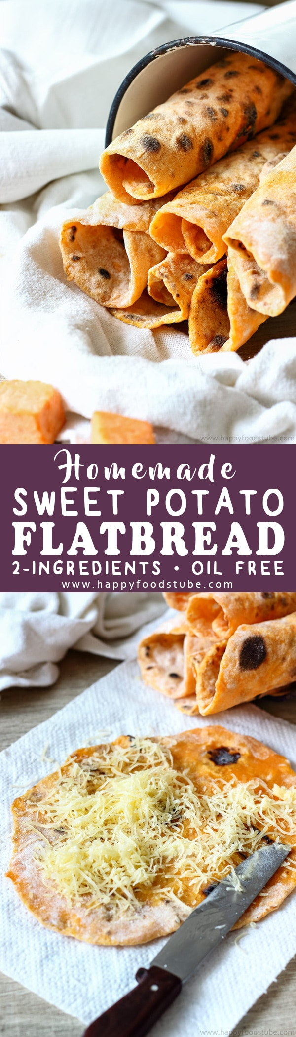 Homemade sweet potato flatbread is a delicious 2-ingredient side dish. This oil-free and yeast free flatbread goes well with curry, duck or grilled meats. Step by step how to make flatbread. Easy sweet potato flatbread recipe