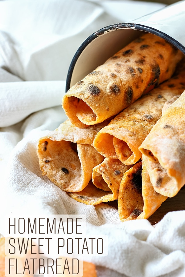 Homemade sweet potato flatbread recipe only 2 ingredients. This oil-free and yeast free flatbread goes well with curry, duck or grilled meats. Step by step instructions how to make flatbread. #happyfoodstube #sweetpotato #flatbread #recipe #yeastfree #vegan #vegetarian #dairyfree #easyrecipe #veganrecipe #vegetarianrecipe #roti