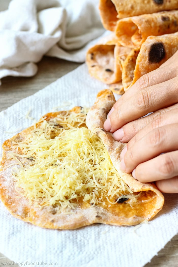 Homemade Sweet Potato Flatbread Roti with Cheese Image