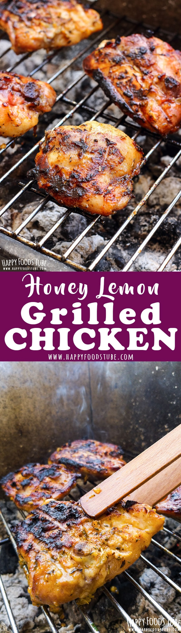 Easy honey lemon grilled chicken recipe. Chicken thighs are flavored with homemade grill seasoning, marinated in honey, lemon and garlic then grilled to perfection. How to make honey grilled chicken. #grilled #chicken #thighs #bbq #barbecue #lemon #honey #recipe
