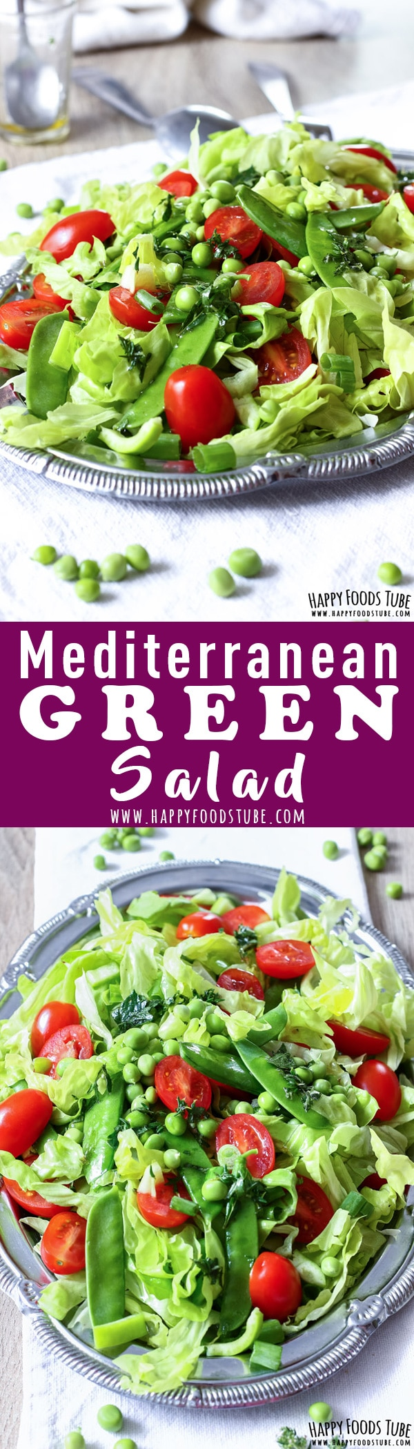 This crispy Mediterranean green salad is easy to make & ready in 10 minutes. It's perfect for outdoor entertaining and grill parties. Vegetarian Mediterranean diet recipe