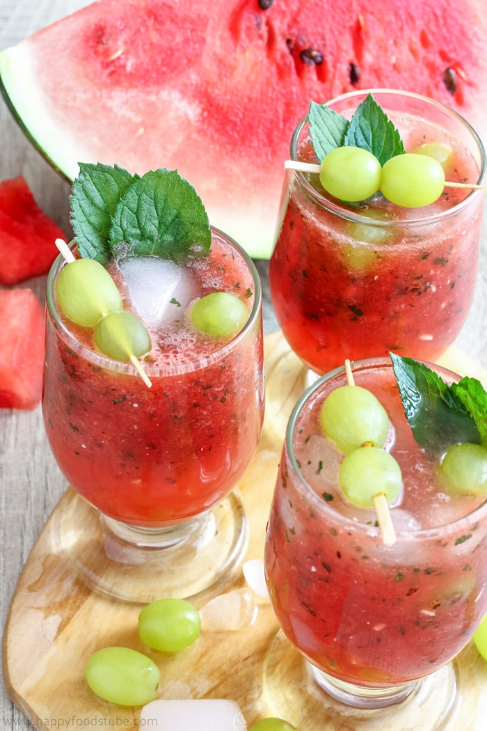 Refreshing Watermelon Juice with Grapes Photo