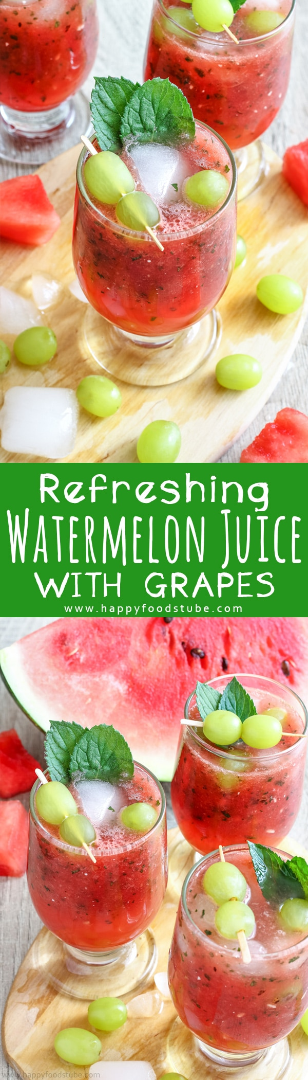 This refreshing watermelon juice with grapes is the best summer drink. Watermelon, mint & honey are combined together and grapes are added for the extra flavor. Non Alcoholic summer drink ready in 10 minutes