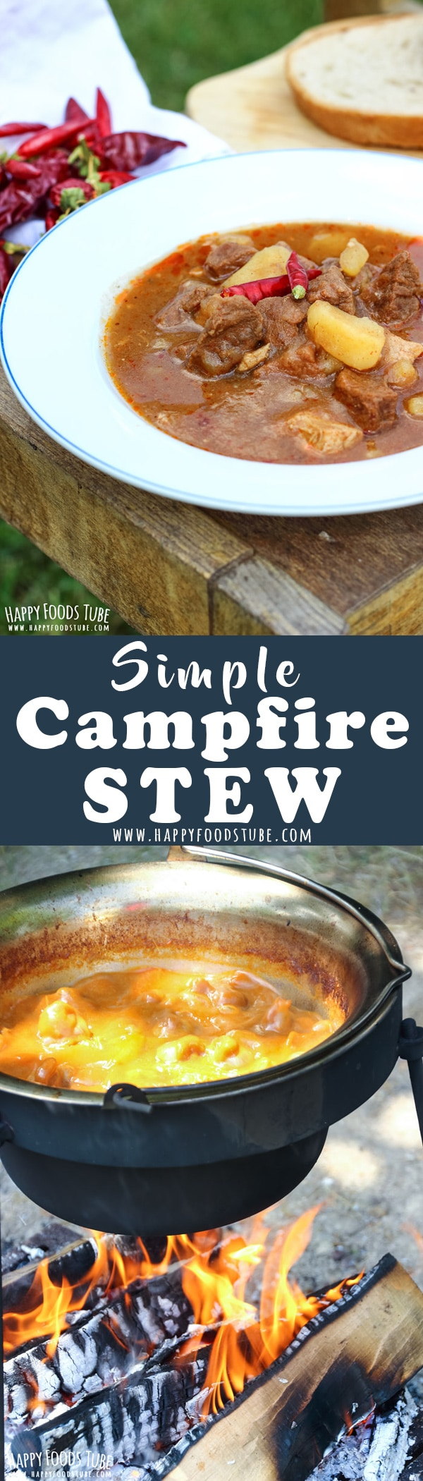 This simple campfire stew is the best and simplest feed-a-crowd recipe. Imagine meaty stew cooked slowly over fire. It can't get any better than this. How to make campfire stew