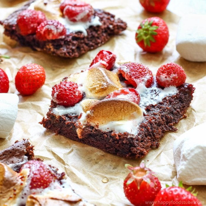 Strawberry Marshmallow Brownies