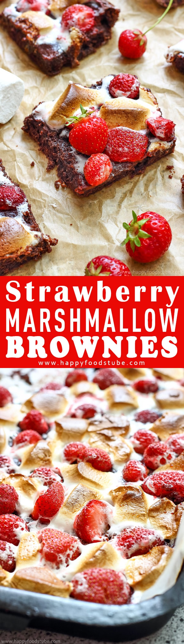 These Strawberry Marshmallow Brownies are the best brownies you'll ever eat! Rich and chewy on the inside and gooey on the outside. Easy to make dessert recipe. Best Strawberry Brownies from scratch