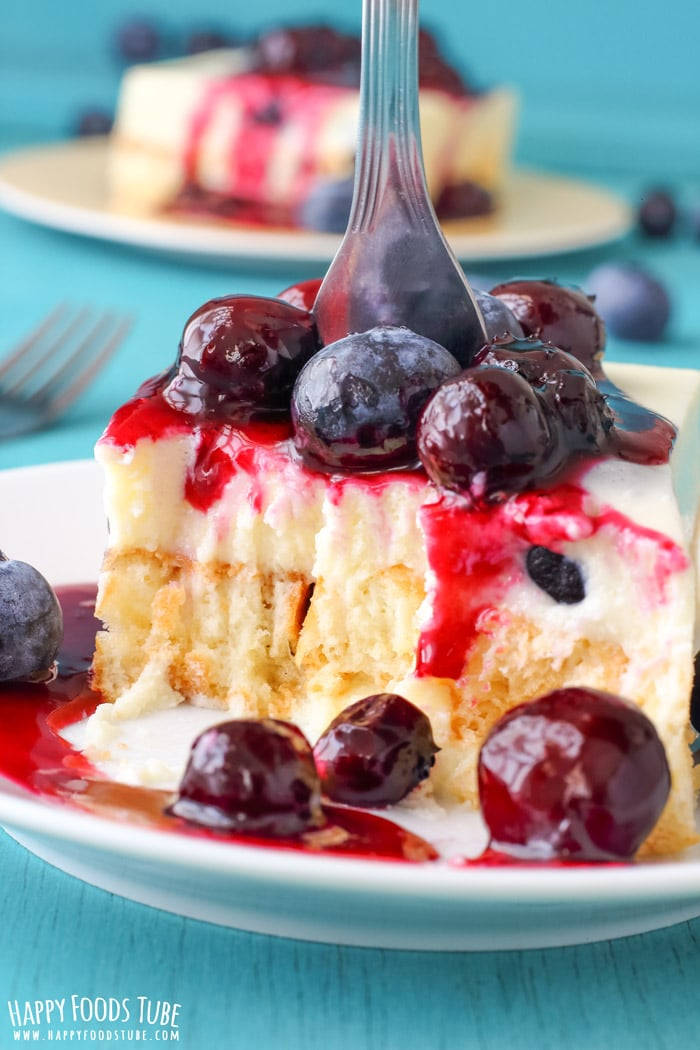No Bake White Chocolate Waffle Cake With Blueberries