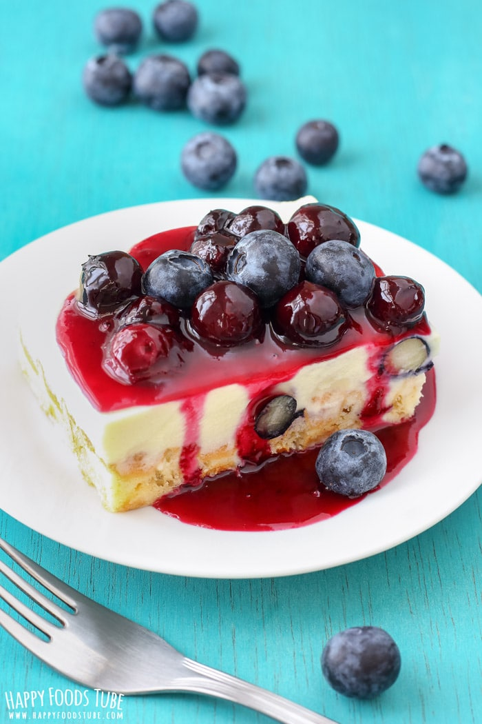 White Chocolate Waffle Cake with Blueberries Pictures